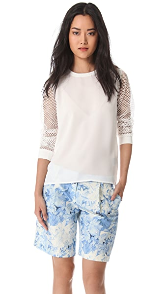 Tibi Alexa Top with Mesh Sleeves