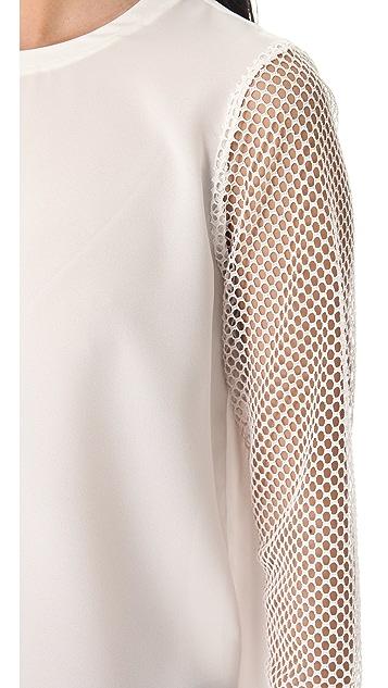 Tibi Alexa Top with Mesh Sleeves