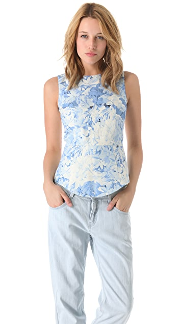 Tibi Daisies Sleeveless Yoked Top