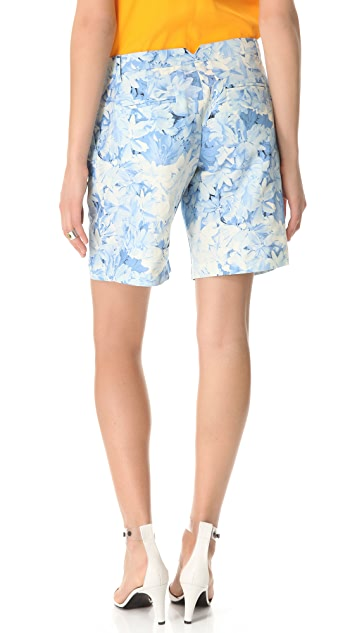 Tibi Daisies Pleated Shorts