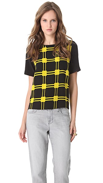 Tibi Marcel Check Easy Top