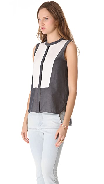 Tibi Sleeveless Combo Blouse
