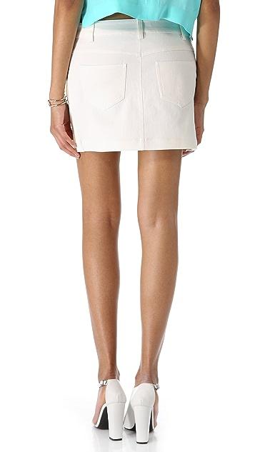 Tibi Analog Print Denim Skirt