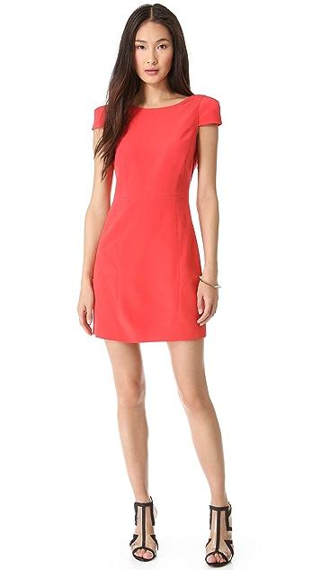 Tibi Cap Sleeve Open Back Dress