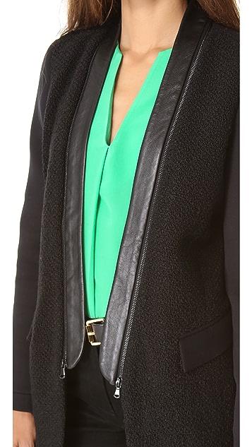 Tibi Boucle & Neoprene Coat