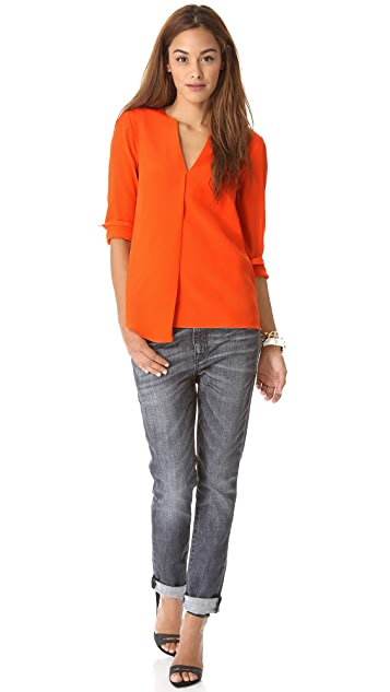 Tibi Split Neck Long Sleeve Blouse