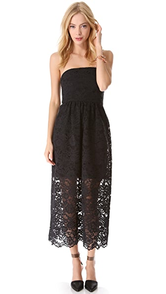 Tibi Strapless Lace Dress