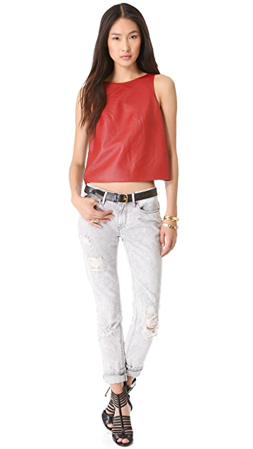 Tibi Leather Crop Top