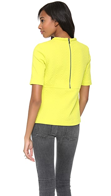 Tibi Short Sleeve Top with Zip
