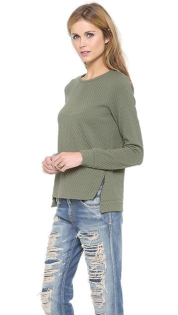 Tibi Easy Drop Shoulder Sweatshirt with Zip