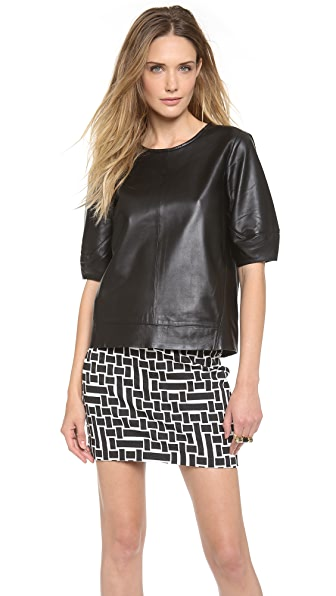 Tibi Sculpted Leather Top