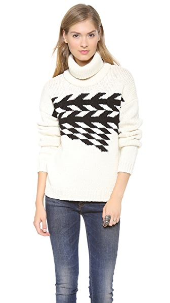 Tibi Corded Chevron Turtleneck