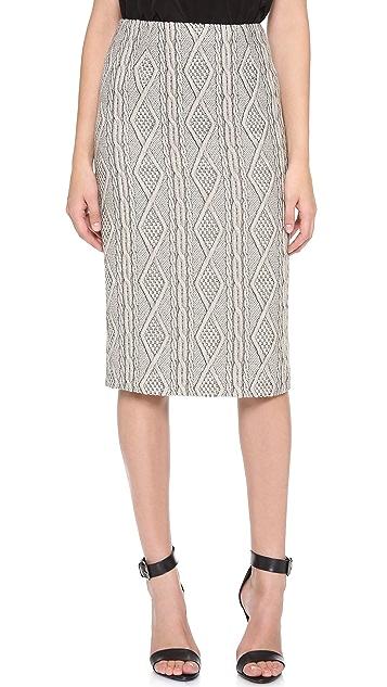 Tibi Cable Jacquard Pencil Skirt