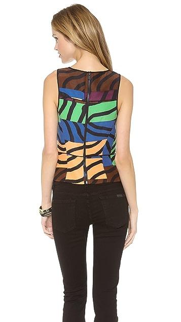 Tibi Sleeveless Zebra Print Top