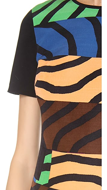 Tibi Short Sleeve Curved Hem Dress