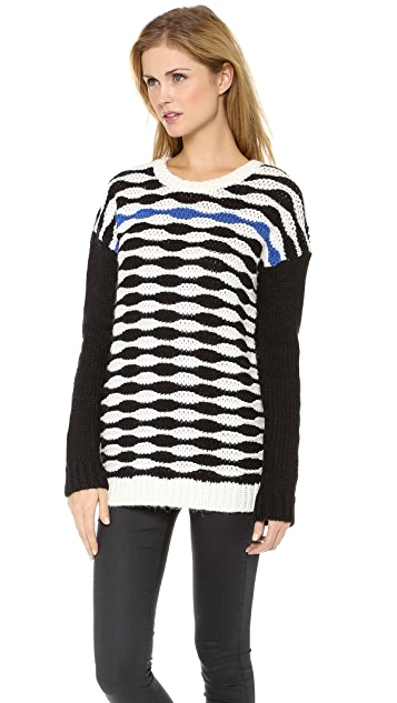 Tibi Wavy Stripe Slouchy Pullover
