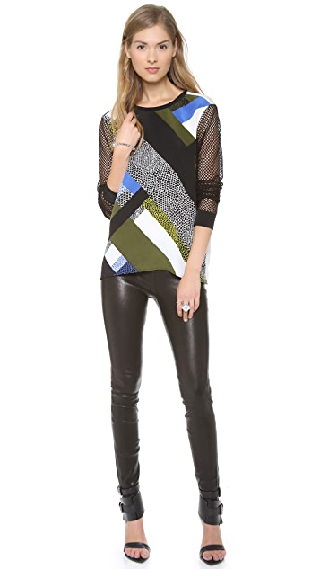 Tibi Nelio Mesh Sleeve Top
