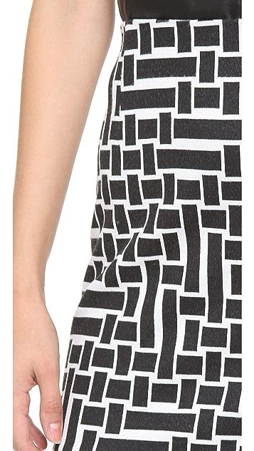 Tibi Patchwork Square Knit Skirt