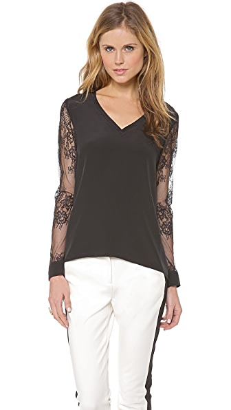 Tibi Chantilly Lace V Neck Top