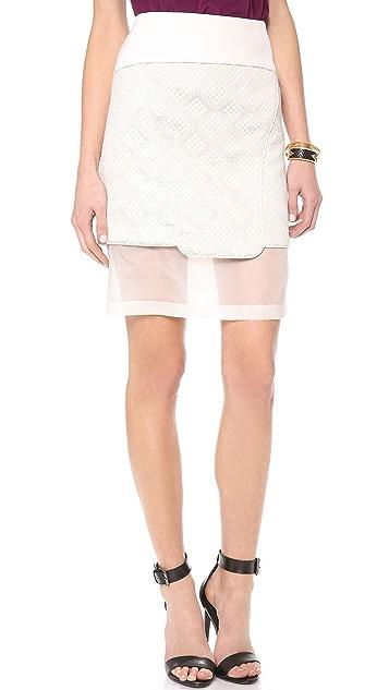 Tibi Paneled Embroidered Skirt