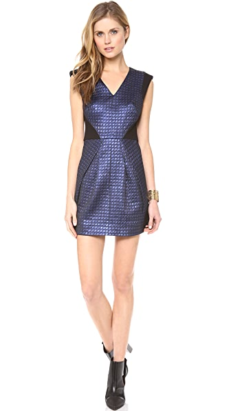 Tibi V Neck Dress with Ponte