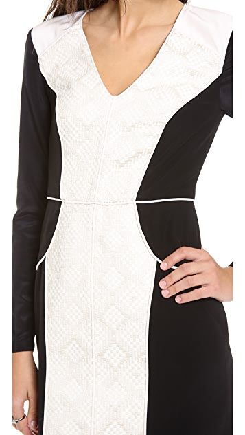Tibi Embroidered Panel Dress