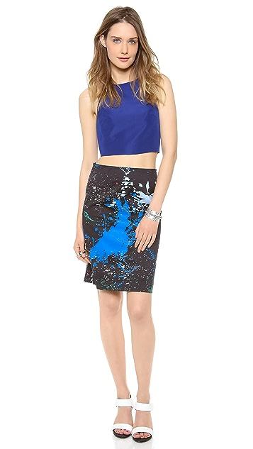 Tibi Splatter Print Pencil Skirt