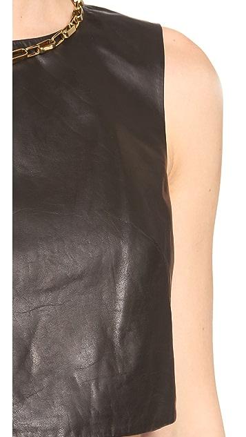 Tibi Leather Crop Top