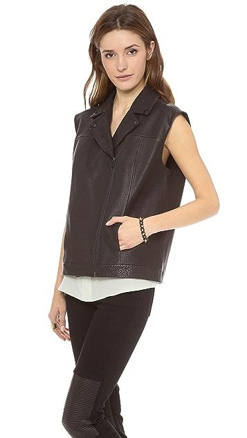 Tibi Oversized Leather Vest