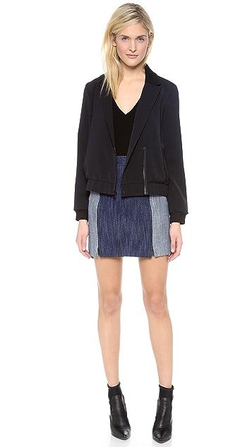Tibi Denim Basketweave Zip Skirt