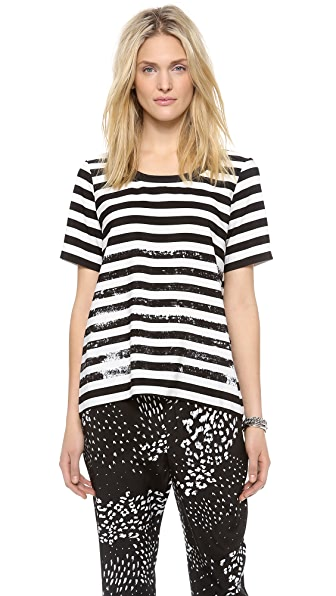 Tibi Distressed Stripe Cutout Tee