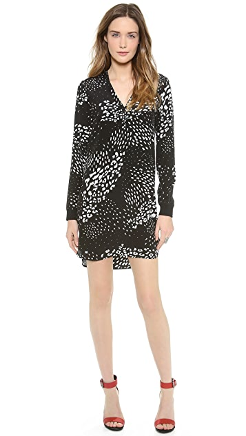 Tibi Leopard Ditzy Henley Dress