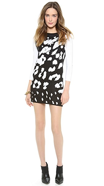 Tibi Leopard Ditzy Sweater Dress
