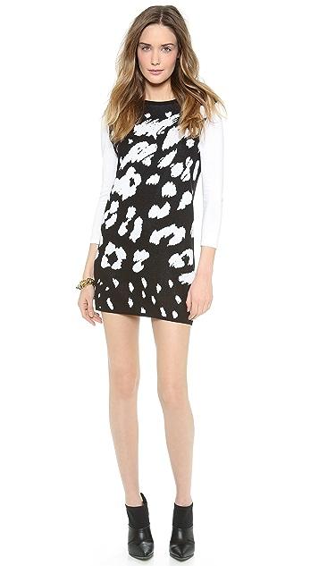 Tibi Leopard Ditzy Sweater Dress