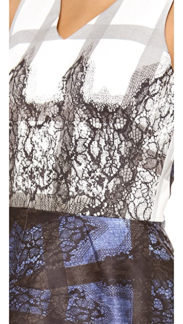 Tibi Lace Plaid Ombre Peplum Top