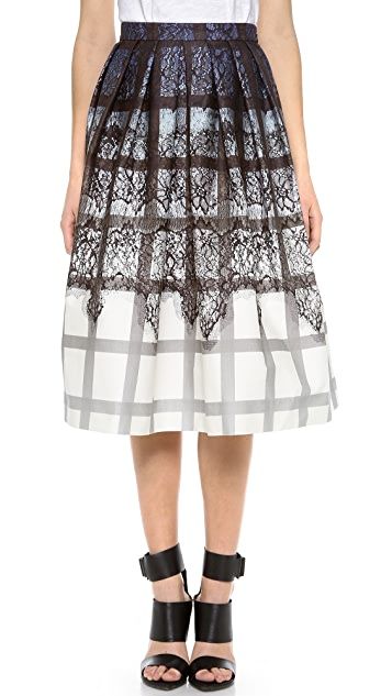 Tibi Lace Plaid Ombre Skirt