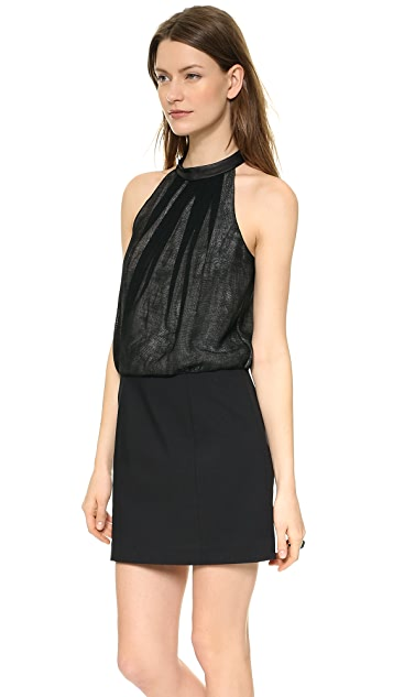 Tibi Halter Dress with Leather Collar