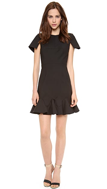 Tibi Short Sleeve Organza Combo Dress