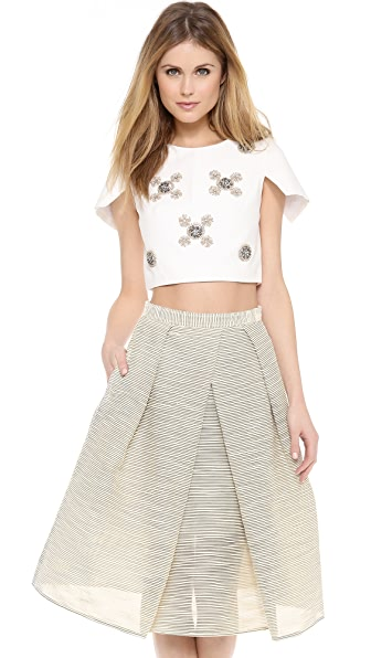 Tibi Short Sleeve Beaded Top