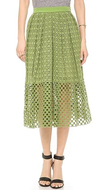 Tibi Eyelet Skirt