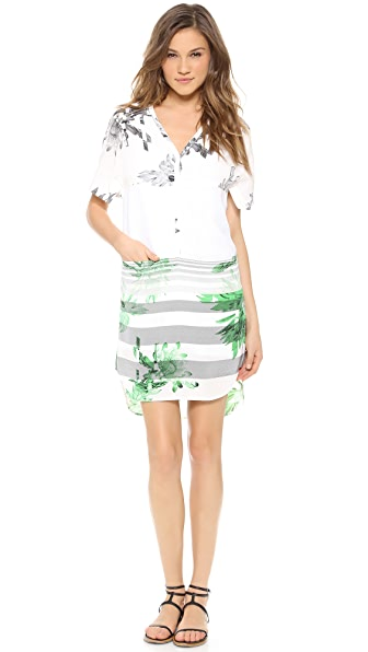 Tibi Short Sleeve Dress with Mesh Insets