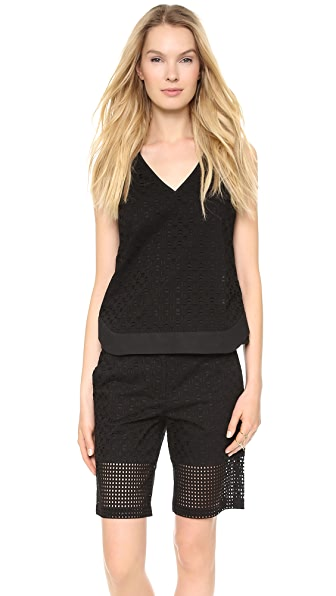 Tibi V Neck Eyelet Top