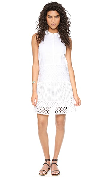 Tibi Kat Eyelet Sleeveless Ruffle Dress
