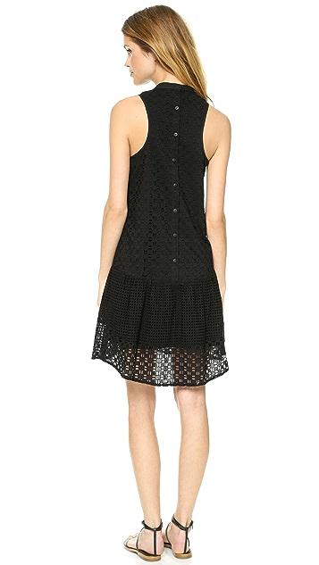 Tibi Kat Eyelet Sleeveless Ruffle Dress