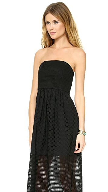 Tibi Eyelet Strapless Maxi Dress