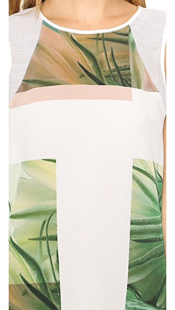Tibi Sleeveless Fiore di Cactus Printed Top