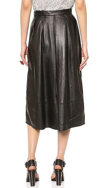 Tibi Full Leather Skirt