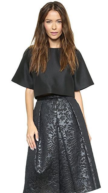 Tibi Short Sleeve Crop Top