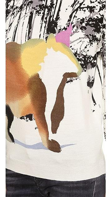 Tibi Forest Bear Print Sweater