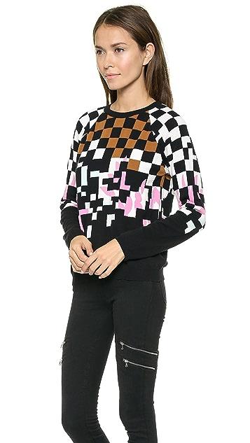 Tibi Checked Raglan Pullover